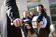 Volagi co-founder Barley Forsman holds the Volagi Liscio as Robert Choi discusses the jury's decision against Specialized Bike's claims of design infringement and confidentiality contract breaching with supporters outside the San Jose Superior Court in downtown San Jose, Calif. on Friday Jan 13, 2011.  Photo by Stan Olszewski/SOSKIphoto.com