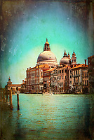 """The Basilica of Santa Maria della Salute Venice radiates in the distance on the Grand Canal –   Vignette""… <br />