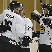 Mitchell Frear, New Zealand, is congratulated by team mates after scoring during the New Zealand V Turkey match during the 2012 IIHF Ice Hockey World Championships Division 3 held at Dunedin Ice Stadium. Dunedin, Otago, New Zealand. 22nd January 2012. Photo Tim Clayton