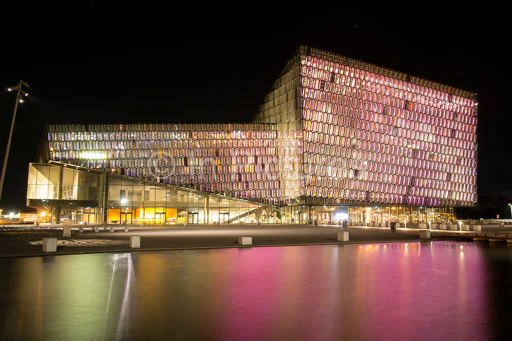Harpa Reykjavik Concert Hall and Conference Center, designed by Henning Larsen Architects. Reykjavik, Iceland.