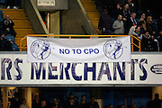 Fans protesting the compulsory purchase order during the The FA Cup 3rd round match between Millwall and Bournemouth at The Den, London, England on 7 January 2017. Photo by Matthew Redman.