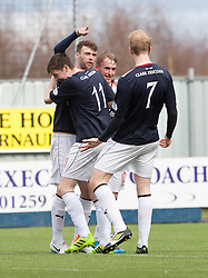 Falkirk's Rory Loy cele scoring their fifth goal and his hat trick.<br /> Falkirk 5 v 0 Cowdenbeath, Scottish Championship game played today at The Falkirk Stadium.<br /> © Michael Schofield.
