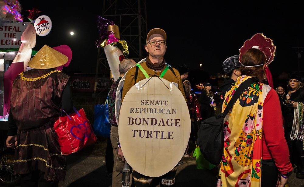 2020 electon parody custom in the Krewe du Vieux, a Mardi Gras Parade in New Orleans know for its raunchy satire.