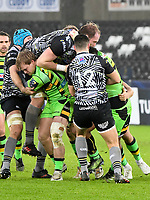 Rugby - 2017 / 2018 European Rugby Champions Cup - Pool Two: Ospreys vs. Northampton Saints<br /> <br />  Northampton Saints, drive a loose maul with Alun Wyn Jones (Capt) of Ospreys off his feet  , at the Liberty Stadium.<br /> <br /> COLORSPORT/WINSTON BYNORTH