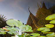 Reflections of the Royal Palace.  Phnom Penh, Cambodia, Southeast Asia.
