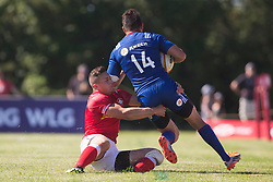 June 16, 2018 - Ottawa, ON, U.S. - OTTAWA, ON - JUNE 16: Cole Davis (11 Wing ) of Canada tries to tackle a Russian player in the Canada versus Russia international Rugby Union action on June 16, 2018, at Twin Elms Rugby Park in Ottawa, Canada. Russia won the game 43-20. (Photo by Sean Burges/Icon Sportswire) (Credit Image: © Sean Burges/Icon SMI via ZUMA Press)