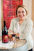 Julia Russell of Mansion Creek Cellars in Walla Walla,in a tasting room,
