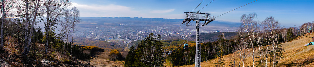 Russia, Sakhalin, Yuzhno-Sakhalinsk. Gorny Vozdukh Ski center is an alpine complex located within Yuzhno-Sakhalinsk city, with a brand new gondola lift. Panorama view.