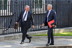 © Licensed to London News Pictures. 23/07/2019. London, UK.  Attorney General Geoffrey Cox (L) and Brexit Secretary Stephen Barclay  R) arrives in Downing Street to attend Theresa May's final Cabinet meeting. Photo credit: Dinendra Haria/LNP