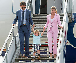 Prime Minister Justin Trudeau and his wife, Sophie Gregoire have some fun with their son, Hadrian, as they arrive Wednesday, July 5, 2017 in Edinburgh.Photo by Ryan Remiorz/The Canadian Press/ABACAPRESS.COM