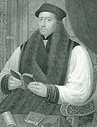 Thomas Cranmer (1489-1556) English prelate: Archbishop of Canterbury. Under Henry VIII he adopted the Protestant faith.  Under Mary I he condemned for heresy and burned at the stake. Engraving.