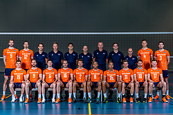 28-12-2019 NED: Team photo Volleyball men, Arnhem<br /> Volleyball men photoshoot before the final training when they leave for Olympic Qualification Tournament / Luuc van der Ent #5 of Netherlands, Tim Smit #12 of Netherlands, Alewijn Huisman, Patrick de Reus, Giovanni Rossi, Roberto Piazza, Henk-Jan Held, Willem de Wit, Rob Vesters, Thijs Ter Horst #4 of Netherlands, Maarten van Garderen #3 of Netherlands. Zittend Gijs van Solkema #15 of Netherlands, Ewoud Gommans #9 of Netherlands, Just Dronkers #6 of Netherlands, Wouter Ter Maat #16 of Netherlands, Wessel Keemink #2 of Netherlands, Fabian Plak #8 of Netherlands, Nimir Abdelaziz #14 of Netherlands, Jelte Maan #11 of Netherlands, Robbert Andringa #18 of Netherlands, Michael Parkinson #17 of Netherlands
