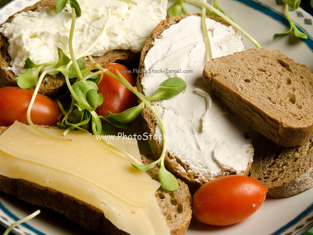 Healthy snack of whole wheat bread with cream cheese, sprouts and tomato