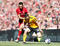Football - 2018 / 2019 Premier League - Liverpool vs. Wolverhampton Wanderers <br /> <br /> Diogo Jota of Wolverhampton Wanderers vies with Trent Alexander-Arnold of Liverpool, at Anfield<br /> <br /> COLORSPORT/BRUCE WHITE