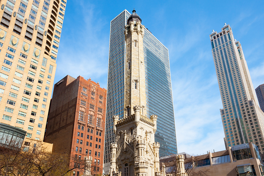 Chicago, Illinois, United States - Skyline of Michigan Avenue and Water Tower.