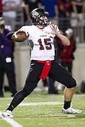 Bowie quarter back Austin Echenberg in play action against Cedar Ridge at Kelly Reeves Athletic Complex.  (LOURDES M SHOAF for Round Rock Leader)