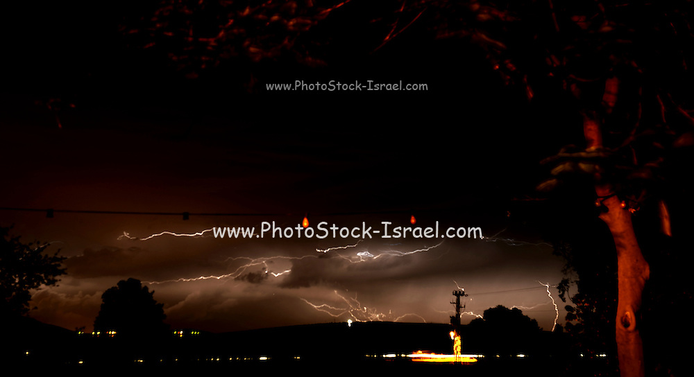 Lightning storm at night Photographed in Israel in November