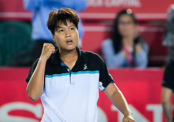 October 10, 2018 - Luksika Kumkhum of Thailand in action during her second-round match at the 2018 Prudential Hong Kong Tennis Open WTA International tennis tournament (Credit Image: © AFP7 via ZUMA Wire)
