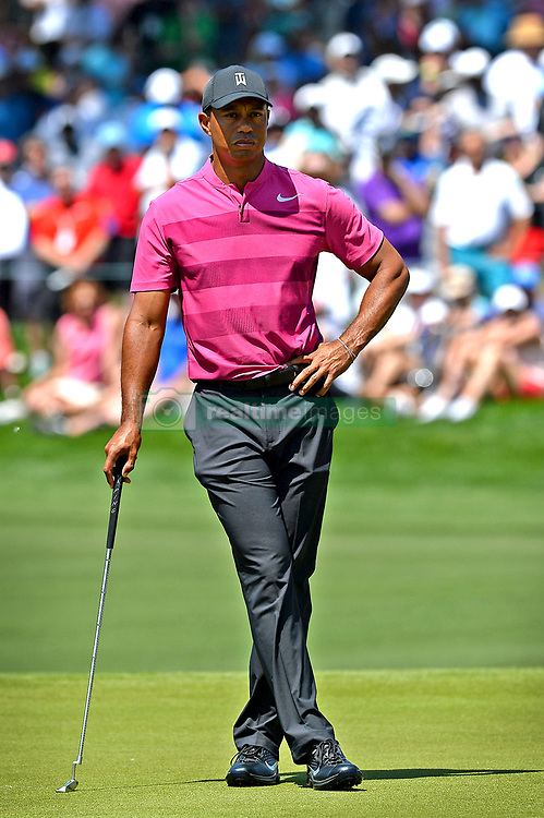 May 3, 2018 - Charlotte, NC, USA - Tiger Woods waits to putt on the 7th green during he first round of the Wells Fargo Championship at Quail Hollow Club in Charlotte, N.C., on Thursday, May 3, 2018. (Credit Image: © Jeff Siner/TNS via ZUMA Wire)