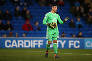 Neil Etheridge, the goalkeeper of Cardiff city looks on.  EFL Skybet championship match, Cardiff city v Bolton Wanderers at the Cardiff city Stadium in Cardiff, South Wales on Tuesday 13th February 2018.<br /> pic by Andrew Orchard, Andrew Orchard sports photography.