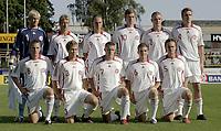 Fotball <br /> Privatlandskamp International U21 U-21 <br /> Landskamp Friendly<br /> 22.08.07 <br /> Melløs Stadion<br /> Norge Norway U21 - Danmark Denmark U21<br /> Lagbilde Team photo Danmark<br /> (Bak L-R) Kasper Schmeichel - Tobias Mikkelsen - Brian Nielsen - Nicklas Pedersen - Michael Jacobsen - Magnus Troest<br /> (Foran L-R) Thomas Enevoldsen - Anders Randrup - Jonas Damborg - Søren Christensen - Timmi Johansen<br /> Foto - Kasper Wikestad