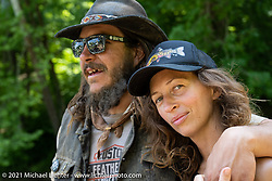 Katie and Danger Dan Hardick during the Tennessee Motorcycles and Music Revival at Loretta Lynn's Ranch. Hurricane Mills, TN, USA. Sunday, May 23, 2021. Photography ©2021 Michael Lichter.