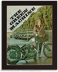 Magazine story on Arlen Ness' custom known as the Green Machine.  ©1975 Ness Family Archive Photo