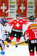 04.April 2012; Rapperswil-Jona; Eishockey - Schweiz - Finnland; Damien Brunner (SUI) jubelt<br />  (Thomas Oswald)