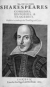 Title page William Shakespeare's First Folio 1623 Cover artist Martin Droeshout