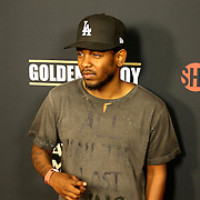 Kendrick Lamar is seen on the red carpet prior to the Mayweather versus Maidana boxing match at the MGM Grand hotel on Saturday, May 3, 2014 in Las Vegas, Nevada.  (AP Photo/Alex Menendez)