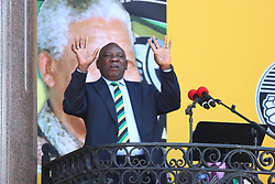 Cyril Ramaphosa speaking at the launch of the ANC's celebration of the 28 years since former president Nelson Mandela was released from the Victor Verster prison in Cape Town.