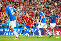 Spain's David Jimenez Silva (c-l) and Italy's  Leonardo Bonucci (l), Daniele De Rossi (c-r) and Ciro Immobile during FIFA World Cup 2018 Qualifying Round match. September 2,2017.(ALTERPHOTOS/Acero)