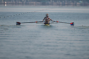 Plovdiv, Bulgaria, 10th May 2019, FISA, Rowing World Cup 1,  Start Area, W2-, USA, USA2, (b) Felice MUELLER, (s) Emily REGAN, row away from the Start<br /> [© Peter SPURRIER, ]
