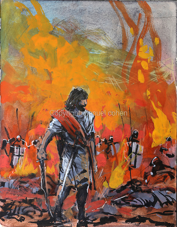 Painting of the warrior Thorgal on a battlefield, from a sketchbook used for developing characters, used since 2000, by Grzegorz Rosinski, 1941-, Polish comic book artist. Rosinski was born in Stalowa Wola, Poland, and now lives in Switzerland, and is the author and designer of many Polish comic book series. He created Thorgal with Belgian writer Jean Van Hamme. The series was first published in Tintin in 1977 and has been published by Le Lombard since 1980. The stories cover Norse mythology, Atlantean fantasy, science fiction, horror and adventure genres. Picture by Manuel Cohen / Further clearances requested, please contact us and/or visit www.lelombard.com