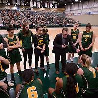 Head Coach Dave Taylor of the Regina Cougars during the Women's Basketball home game on January 27 at Centre for Kinesiology, Health and Sport. Credit: Arthur Ward/Arthur Images