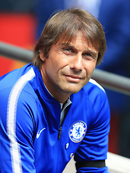 """Chelsea manager Antonio Conte before the Community Shield at Wembley, London. PRESS ASSOCIATION Photo. Picture date: Sunday August 6, 2017. See PA story SOCCER Community Shield. Photo credit should read: Nigel French/PA Wire. RESTRICTIONS: EDITORIAL USE ONLY No use with unauthorised audio, video, data, fixture lists, club/league logos or """"live"""" services. Online in-match use limited to 75 images, no video emulation. No use in betting, games or single club/league/player publications."""