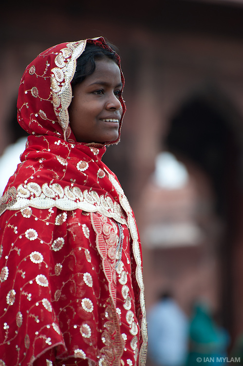 Young Woman at the Jama Masjid Mosque - Old Delhi, India
