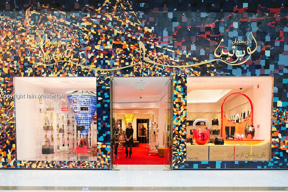 view of Christian Louboutin fashion boutique inside Dubai Mall in United Arab Emirates