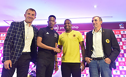 South Africa: Johannesburg: Orlando Pirates coach Milutin Sredojevic, captain Happy Jele, Kaizer Chiefs Captain Itumeleng Khune and Chiefs coach Giovanni Solinas, poses photographs at the PLS officers in Parktown, after addressing members of the media on the much anticipated Soweto Derby on Saturday when Orlando Pirates host rivals Kaizer Chiefs for Absa Premiership match at FNB Stadium.<br />Picture: Itumeleng English/African News Agency (ANA)<br />973<br />24.10.2018