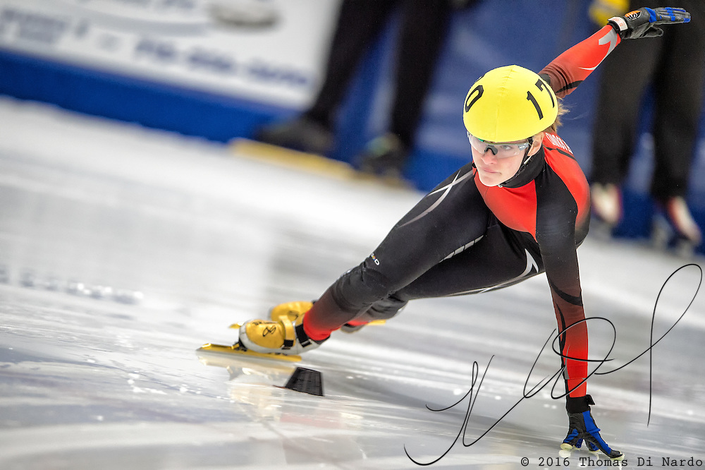 March 18, 2016 - Verona, WI - Corinne Stoddard, skater number 170 competes in US Speedskating Short Track Age Group Nationals and AmCup Final held at the Verona Ice Arena.