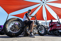 T4 Motorcycles' Stéphane Grand of Geneva, Switzerland with his SG4 custom Harley-Davidson Knucklehead at the Rats Hole annual custom bike show in the Crossroads area of the Buffalo Chip during the Sturgis Black Hills Motorcycle Rally. SD, USA. Thursday, August 8, 2019. Photography ©2019 Michael Lichter.
