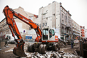Road construction and heavy machinery in Wroclaw, Poland.