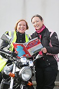 NO FEE PICTURES.5/5/13 On Saturday May 4th, the 8th Annual Rev-up4DSI motorcycle challenge in aid of Down Syndrome Ireland departed Joe Duffy BMW in Dublin, bound for Donegal. Pictured are Susanne Power, Navan and Vennessa Bayly, Dublin. Picture:Arthur Carron Photography