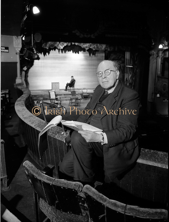 03/12/1962<br /> 12/03/1962<br /> 03 December 1962<br /> Ernest Blythe (Earnán de Blaghd), Managing Director of the Abbey Theatre and former politician pictured at The Abbey Theatre, based in Queen's Theatre at this time.
