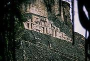 San Ignacio, Xunantunich, Mayan ceremonial center. El Castillo, carved frieze with astronomical symbols, human faces and jaguars heads.