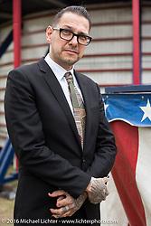 British tattoo artist Craig Jackman (living in LA) at the Handbuilt Motorcycle Show. Austin, TX, USA. April 10, 2016.  Photography ©2016 Michael Lichter.