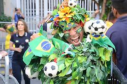 July 2, 2018 - Rio De Janeiro, Brazil - RIO DE JANEIRO, RJ - 02.07.2018: TWISTED TEAM MOVE IN RJ - Carioca fans celebrate the second goal of the Brazilian team in the game against Mexico, this Monday (02) at Alzirão in Tijuca in the northern part of the city of Rio de Janeiro, RJ. (Credit Image: © Luiz Gomes/Fotoarena via ZUMA Press)
