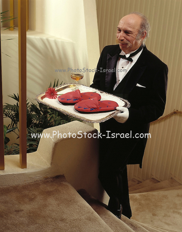 a butler in black suit and bow tie, serving slippers and a cocktail on a tray in a luxury apartment