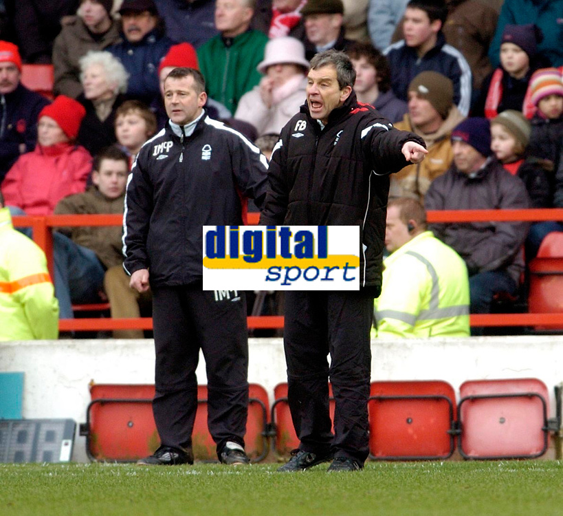 Photo: Leigh Quinnell.<br /> Nottingham Forest v Swindon Town. Coca Cola League 1. 25/02/2006. Nottingham Forest caretaker managers Frank Barlow(R) and Ian McParland on the touch line.