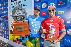 October 25, 2017 - Gabriel Medina of Brazil is chaired up the ebach after winning the MEO Rip Curl Pro Portugal for the second time in his career at Supertubos, Peniche, Portugal.  Medina defeated Julian Wilson of Australia in the final to take the win and move to World No.2 on the Jeep Leaderboard and one step closer to securing a second World Title...MEO Rip Curl Pro Portugal 2017, Oeste Subregion, Portugal - 25 Oct 2017 (Credit Image: © Rex Shutterstock via ZUMA Press)